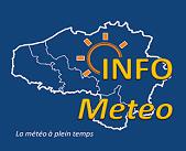 """Logo représentantle logo d'Infométéo, une carte de la Belgique, du Nord et des Ardennes avec le slogan : """"La météo à temps plein""""."""